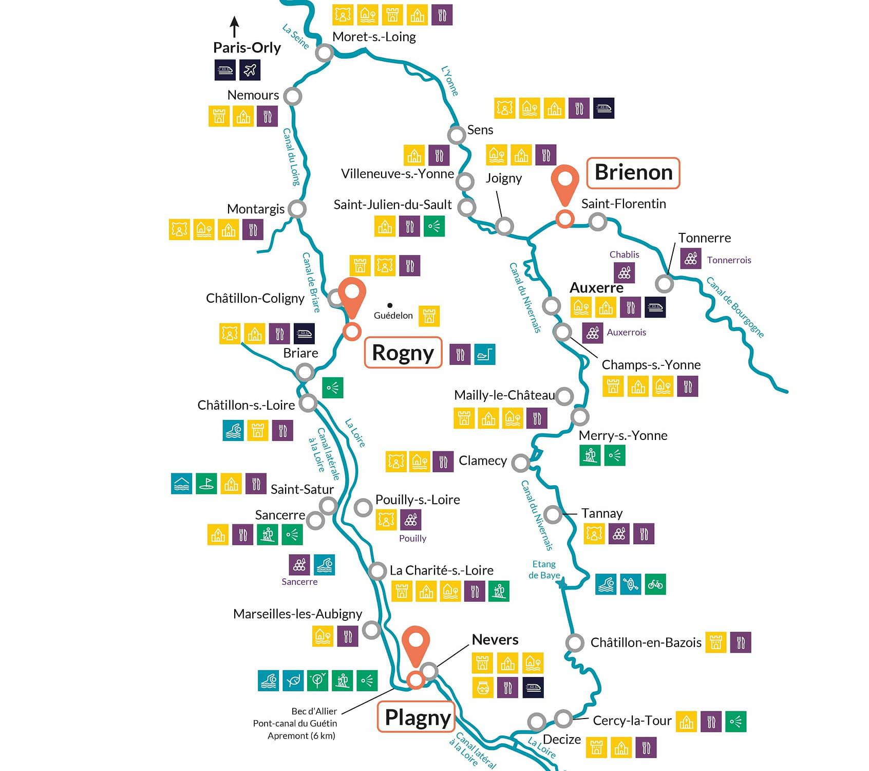 Boating holidays map